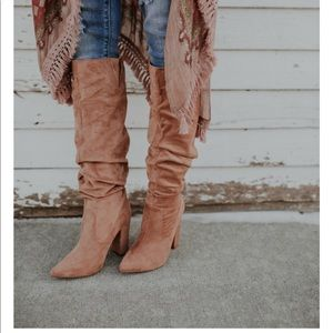 Tan faux suede scrunch boot - never worn